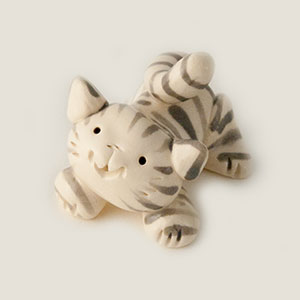 White Tabby Cat Collectible Figurine
